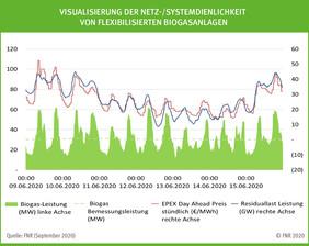 Visualisierung der Netz-/Systemdienlichkeit von flexibilisierten Biogasanlagen, Quelle: FNR